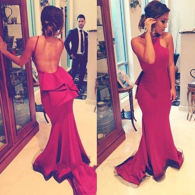 Купить с кэшбэком Vestido De Festa Red Satin Mermaid Evening Dresses 2019 Long Evening dresses Party Gown Pleat Sexy Backless Evening Prom Dress