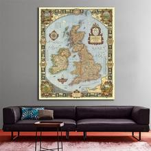 23.6x35.4 inches Vintage Fine Canvas Waterproof Map of The Kingdom Great British For Archeology and Wall Decor