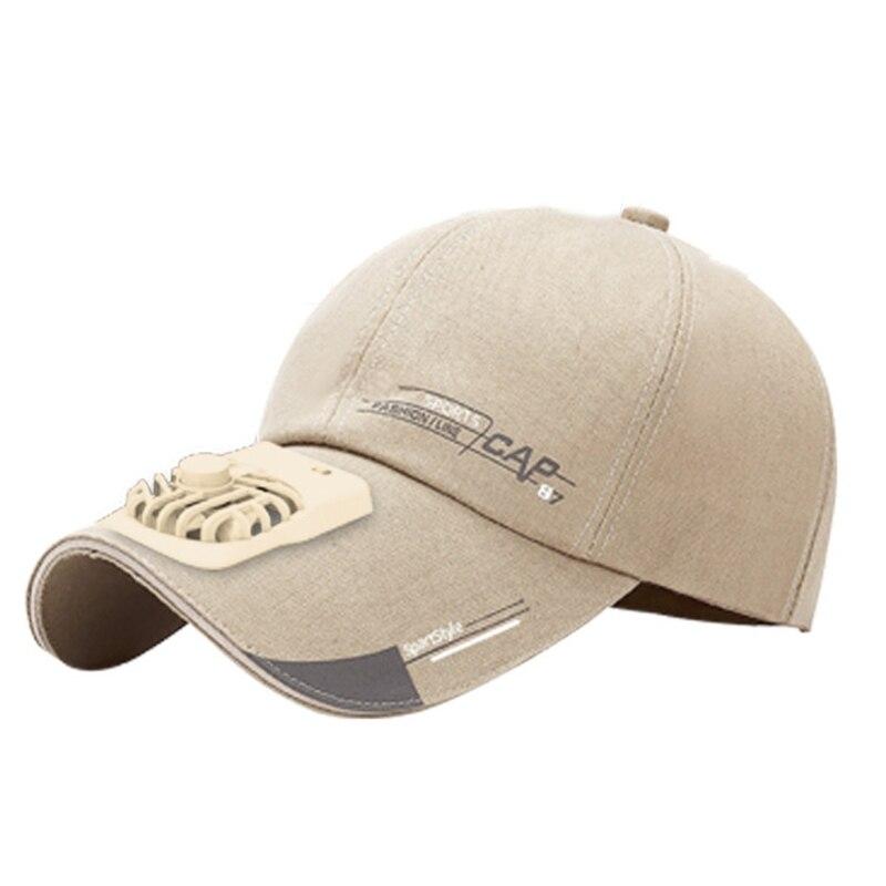 Summer USB Charging Fan Baseball Cap Letters Print 2 Speed Adjustable Peaked Hat Y1AC