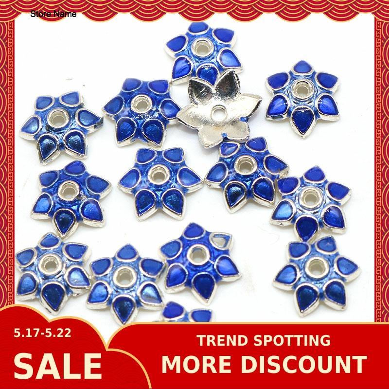 10mm Flower Bead Caps Metal Alloy Enamel Cloisonne Golden For Diy Jewelry Making