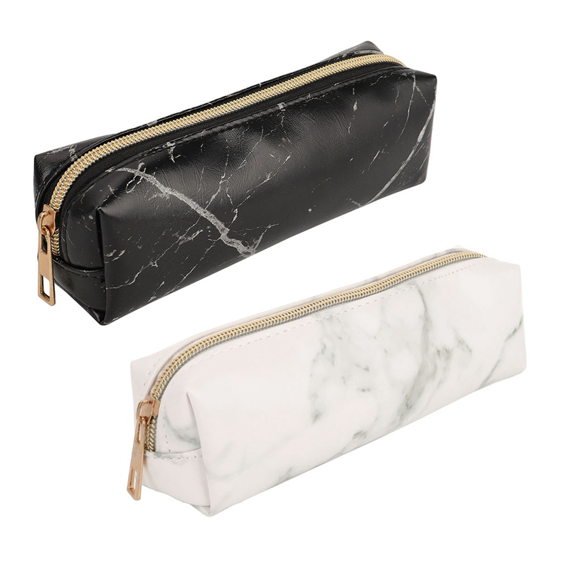 PU Marble Rose Gold Zipper Pencil Case Cute School Pencil Cases For Girls Boy Big Pen Bag PencilCase Pouch School Stationery
