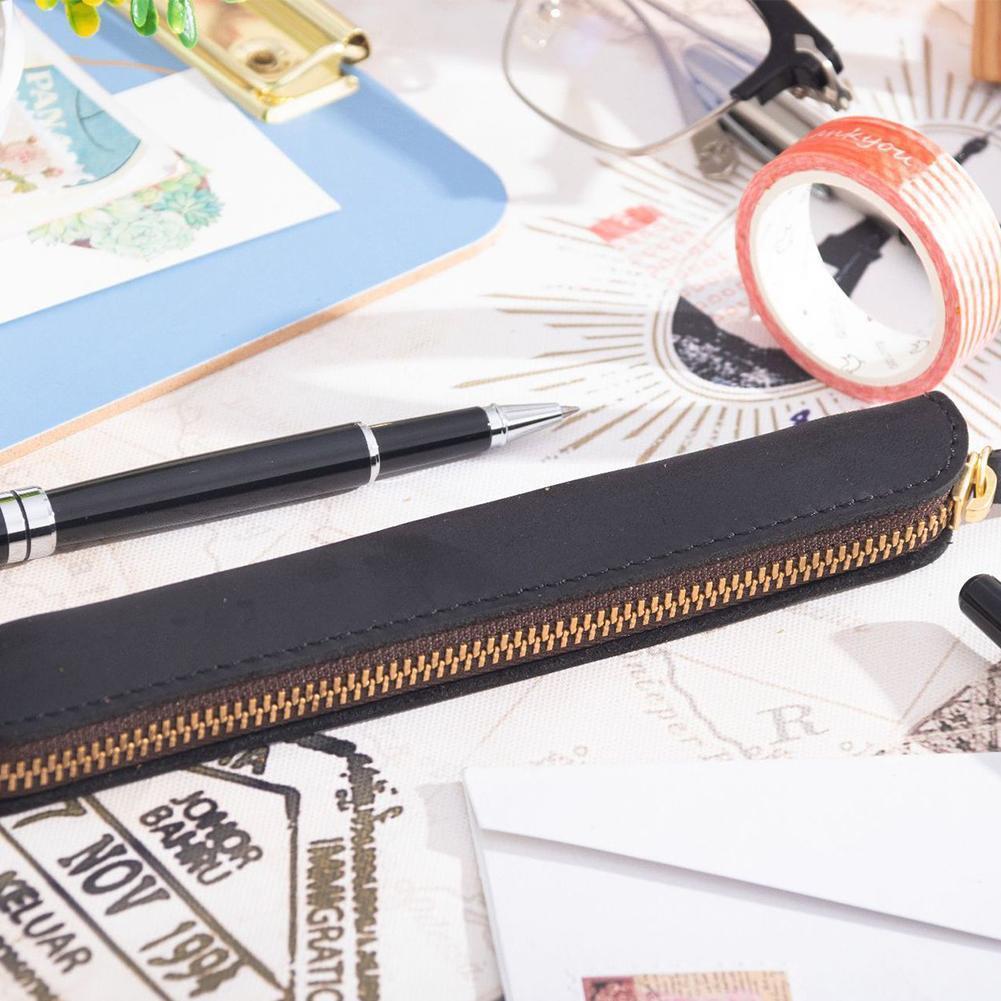 Retro Simple Pencil Bag Leather Organizer Handwriting Cover Pencil Leather Protective Bag Case Mini Portable Pencil Cosmest R9W2|  - title=
