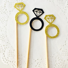 10Pcs/bag Diamond Ring Cupcake Toppers Picks Wedding Birthday Party Bridal Shower Engagement Valentine's Day Cake Decor Supplies
