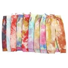 Kaiya Angel Fashion Children Adult Size Tie Dye Drawstring Women Girl Leggings Pants Printed Ruffle Pant Boutique Girl Clothing