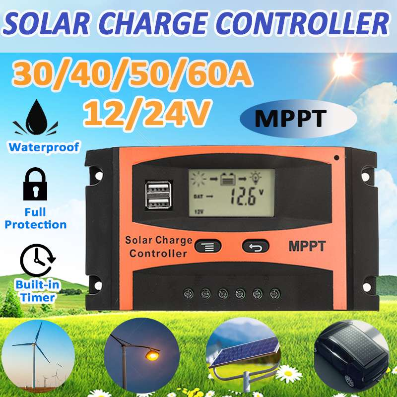 10//20//30//40//50A Dual USB Solar Panel Battery Regulator Charge Controller 12V//24V