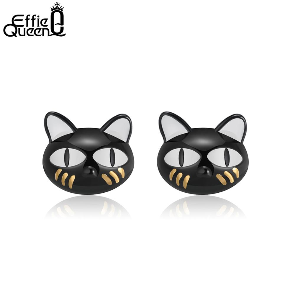 Effie Queen Real 925 Sterling Silver Women Stud Earrings Creative Black Cat New Style Earring Party Jewelry Gift For Girl TSE89