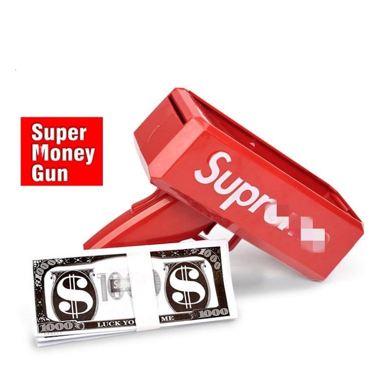 Super Money Gun The Cash Cannon Make It Rain Money Dispenser Red Color Novelty Toys Money Spray Gun Party Supplies Christmas