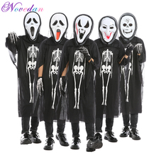 Halloween Parent-Child Costume Witch Skull Horror Role Playing Childrens with mask /white bone gloves
