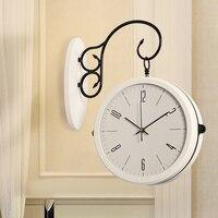 Nordic Luxury Double Sided Luxury Wall Clock Modern Design Silent Living Room Creative White Reloj De Pared Wall Watch JJ60WC