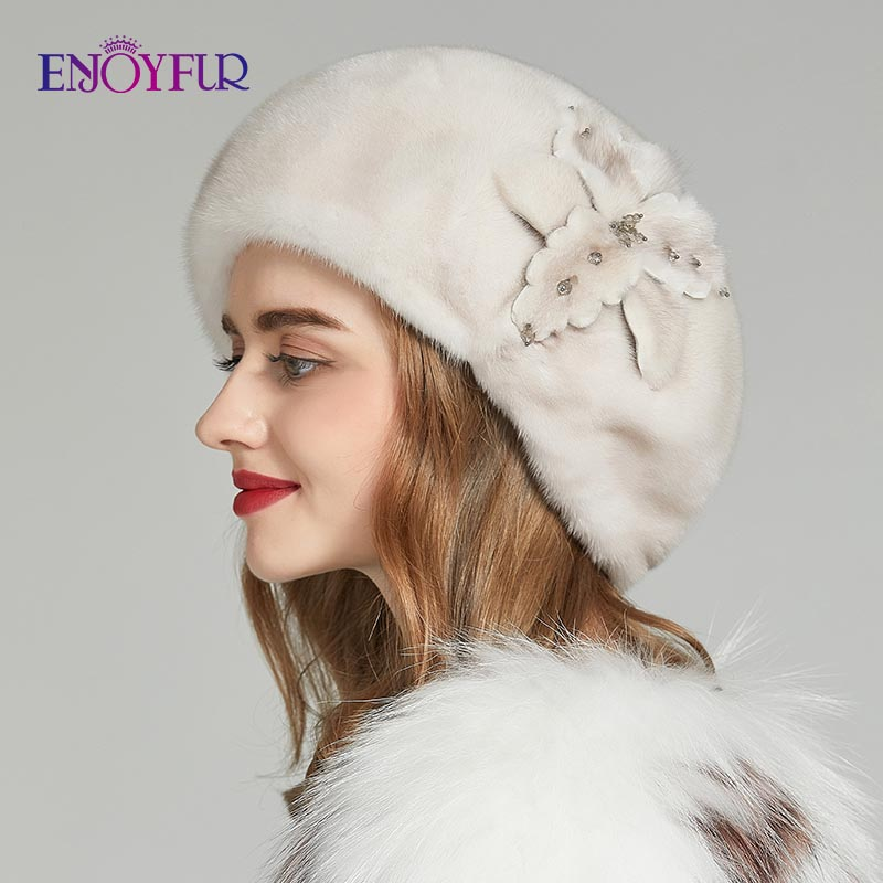 ENJOYFUR Whole Mink Fur Winter Hats Women Real Mink Fur Berets Warm Genuine Fur Caps With Flower New Brand Female Hat