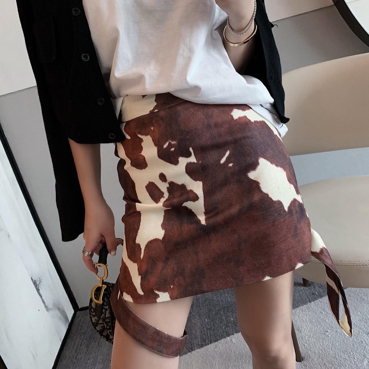 2019 Summer New Style Leg Ring Decoration Double Purpose Method Retro Cow Printed Cotton Linen Skirt Slim Fit Short Skirt Women'
