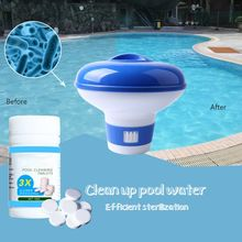 Swimming Pool Chlorine Dispenser Plus 100 tablets Chlorine Tablets Chemical Floater Chlorine Bromine Tablets for pool Floating 50 pieces of swimming pool instant disinfection tablets chlorine dioxide effervescent tablets disinfectant chlorine disinfectant