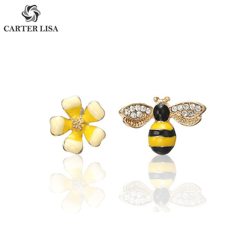 CARTER LISA Cute Enamel Flower Bee Yellow Stud Earrings For Women Girl New Fashion Jewelry Accessories Brincos Kolczyki