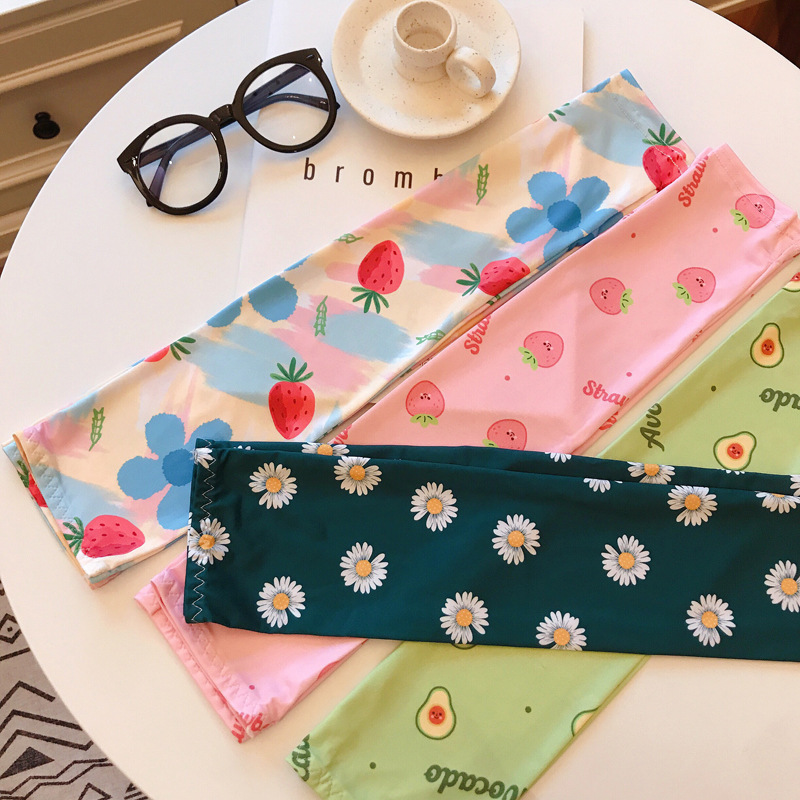 Cute Ice Silk Floral Arm Sleeves Women Fashion Colorful Daisy Long Sleeves Cuffs Thin Sun Protection Cycling Arm Warms Driving