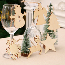 10PCS Creative Christmas Wooden Pendants Ornaments DIY Wood Crafts Xmas Tree Party Decorations Kids Gift