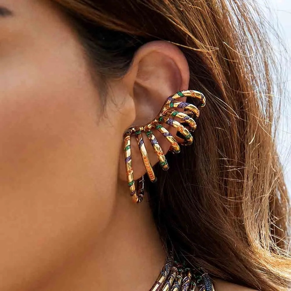 Blue Ear cuff with Multicolor Stones