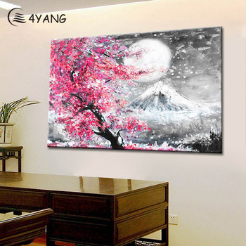 4YANG Fuji Mountain sakura Oil Painting Colorful Wall Art Posters Prints Canvas Pictures for Living Room Bedroom Home Decor
