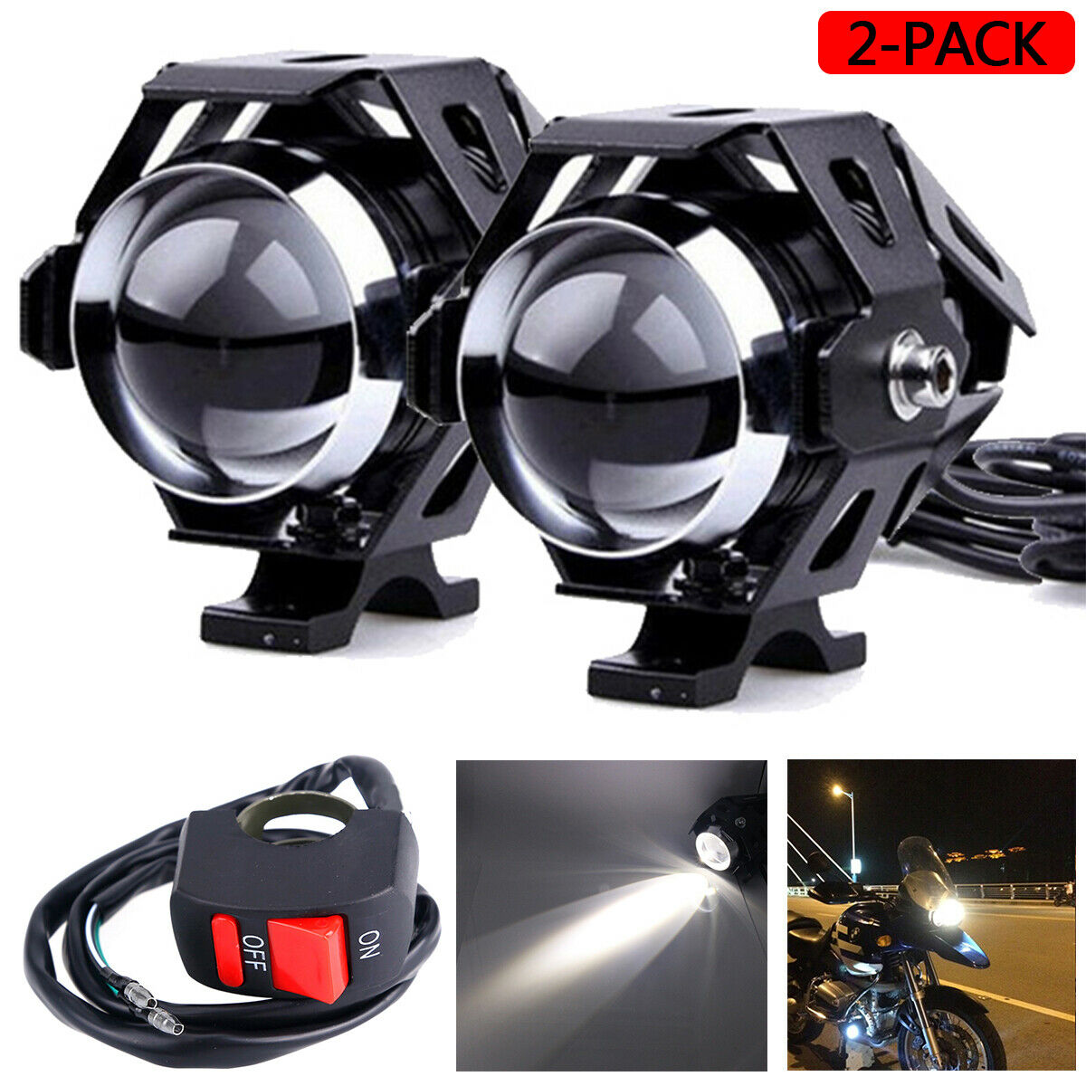 Wholesale Price 10Pieces 3000LM 125W U5 Low Beam Motorcycle Headlight LED Spot Lamp Add Switch Headlight LED Led Bar Offroad
