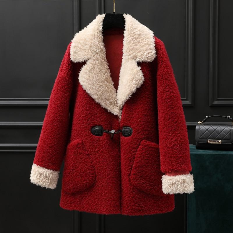 Real Fur Coat Female 100% Wool Jacket Korean Vintage Autumn Winter Coat Women Clothes 2020 Sheep Shearling Suede Lining ZT3925