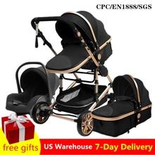 Carrinho de bebê luxuoso 3 em 1, carrinho de bebê portátil dobrável, moldura de alumínio de viagem para recém-nascidos