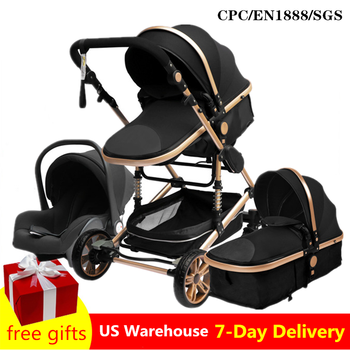 Luxurious Baby Stroller 3 in 1 Portable Travel Baby Carriage Folding Prams Aluminum Frame High Landscape Car for Newborn Baby super light luxury baby stroller high landscape folding baby car shockproof portable prams and pushchairs for newborns 4 2kg