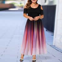 Große Größe Elegante Kleid Damen 2019 Neue Aushöhlen Drucken Plus Größe Kleider für Frauen 6XL Casual Weibliche Herbst Maxi kleid D25