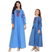 Muslim Women Embroidery Abaya Kids Girls Kaftan Long Sleeve Dress Parent Child Loose Autumn Family Matching Outfits Dress New