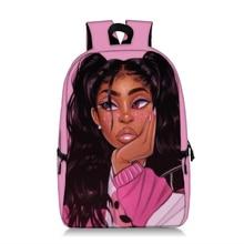 Sevimli Afro Kız Baskı gençlere yönelik sırt çantası Kahverengi Kızlar Öğrenci Okul Çantaları Laptop Sırt Çantaları Kadın Sırt Çantası Kadın Sırt Çantası