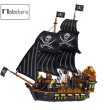Mailackers Creator Expert Pirate Kingdom Movie Pirate Ship Model Sailing Ship Flagship Boat Building Blocks Toys For Children
