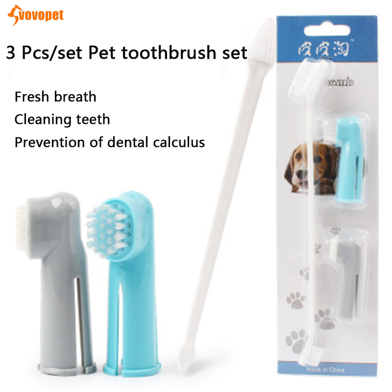 VOVOPET Pet toothbrush set Double Head soft Teeth Care dog teeth cleaning Finger Toothbrush with Toothpaste