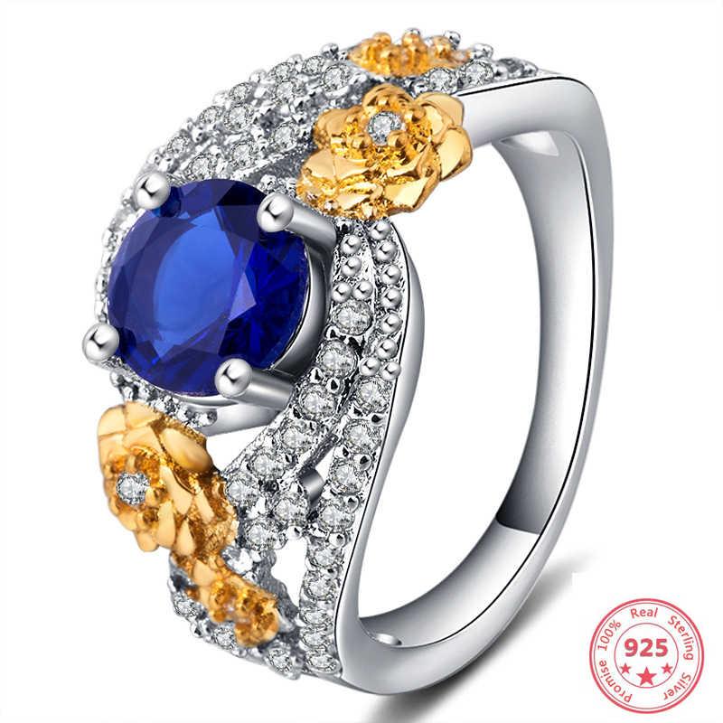 แสตมป์ 925 Sliver แหวน Blue Topaz เงินสเตอร์ลิงหรูหราอัญมณี Anillos Bizuteria เครื่องประดับเพชรแหวนกล่อง