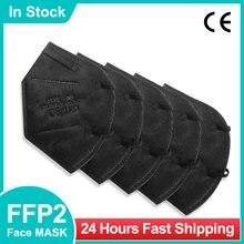 5-100 pces mascarilla fpp2 homóloga negra ffp2 kn95 máscaras ce adulto 5 camadas máscara protetora do respirador ffp2mask preto mascherine ffpp2