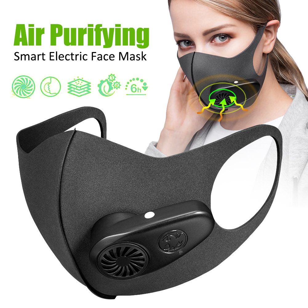 Smart Electric Mask Respiratory Dust Air Purifying Anti-fog Haze PM2.5 Pollen Masks With Breathing Valve Non-disposable In Stock