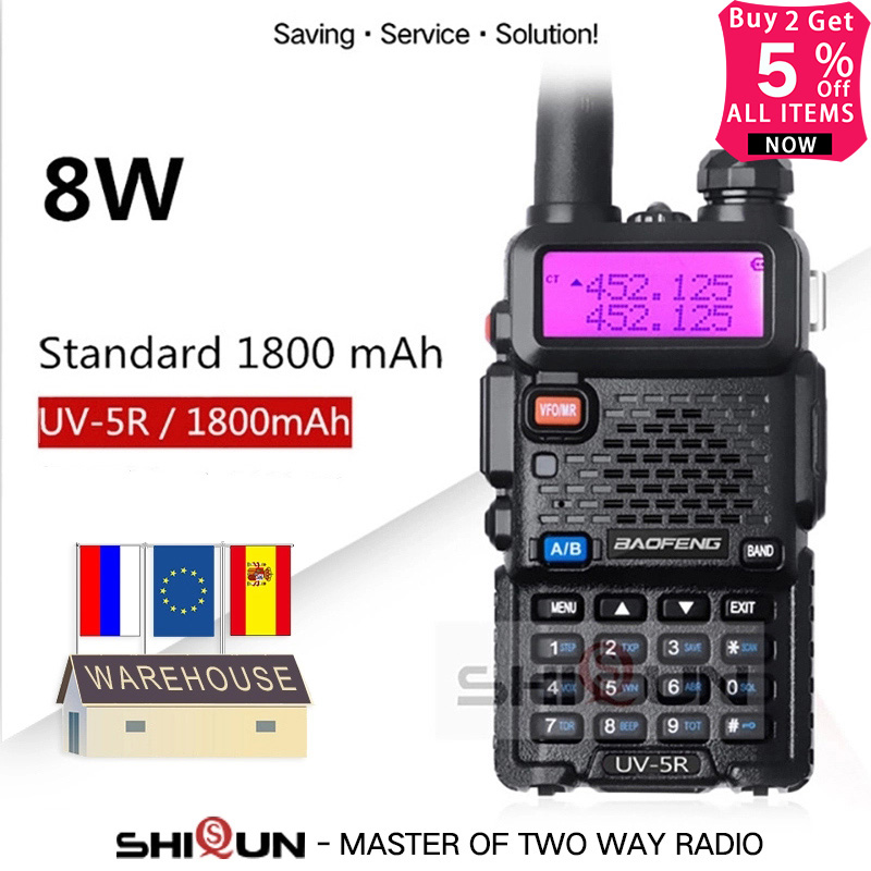 Upgrade 8W Baofeng UV-5R Walkie Talkie 10 Km Baofeng Uv5r Walkie-talkie Hunting Ham Radio Uv 5r Baofeng UV-9R UV-82 UV-8HX UV-XR