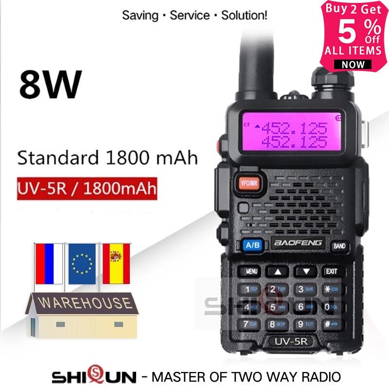 Upgrade 8W Baofeng UV-5R Walkie Talkie 10 Km Baofeng Uv5r Walkie-talkie Hunting Ham Radio Uv 5r Baofeng UV-9R UV-82 UV-8HX UV-XR