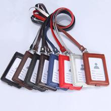 New Genuine leather Wallet Work Office ID Card Credit Card Badge Holder + Lanyard + 5 Slots Bank Card Holders ID Badge Holders new transparent id card holders and certificates case for admission quality pvc card badge holder work id cover without lanyard