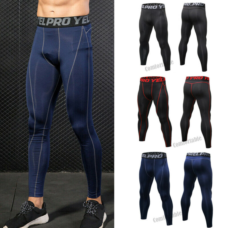 Mens Tights Sport Pants Cycling Skin  Breathable Slimming Gym Compression Slim Tight Base Layer Leggings Running Skinny Pants