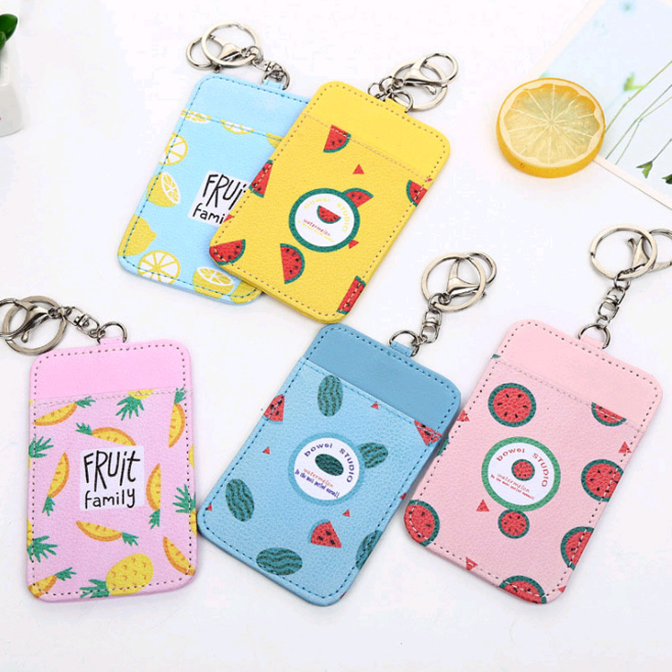 Fruit Pudding Traffic Bus Card Holder Keychain Access Control Students Meal Card Wallet Key Ring Lanyard Card Bag Wholesale