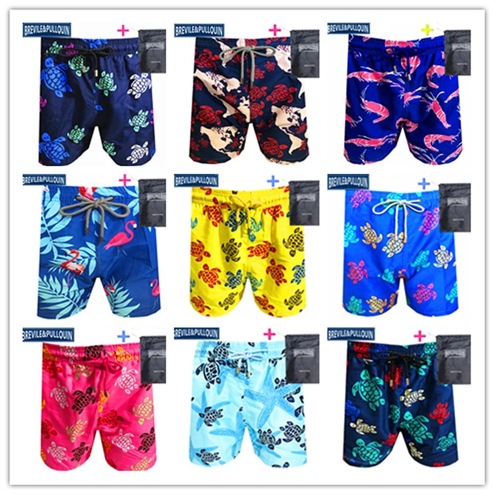 Promotion Beach Mens Board Shorts 2020 Brand Brevile Pullquin Boardshorts Man Swimwear Turtles Swimtrunks Quick Dry + Gifts Bag