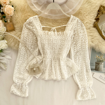 Chic Ruffled Elastic Waist Slimming Square Collar Long Sleeve Hollow Lace Blouse Woman Solid Color Elegant Shirts Tops K248 2