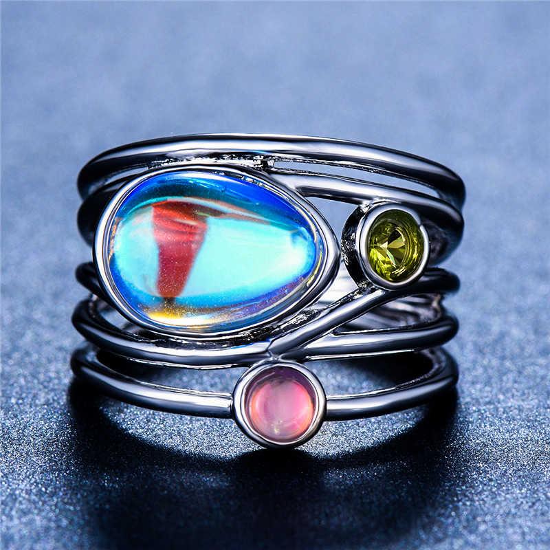Boho หญิงสุภาพสตรีมูนสโตนแหวนเงิน Rose Gold สีงานแต่งงานเครื่องประดับสัญญารักหมั้นแหวน