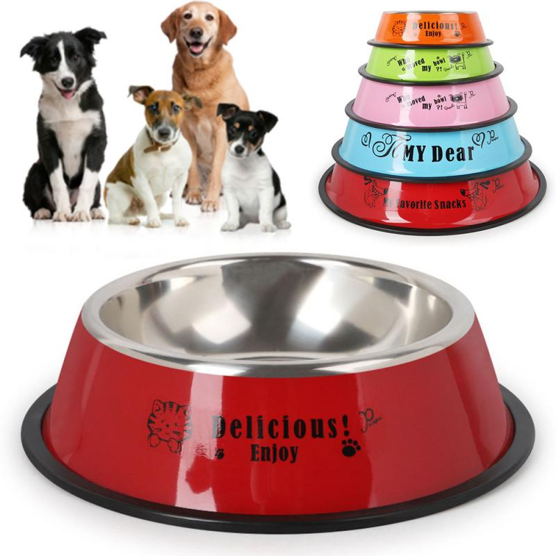 Durable Stainless Steel Non-Slip Dog Puppy Cat Animal Feeding Food Bowl Dish Random Color Water Bottle Food Dropshipping 7