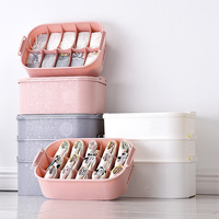Three piece Portable Underwear Storage Box Plastic Bra Underwear Socks Boxes Bin Partition Type Storage Case Container Organizer