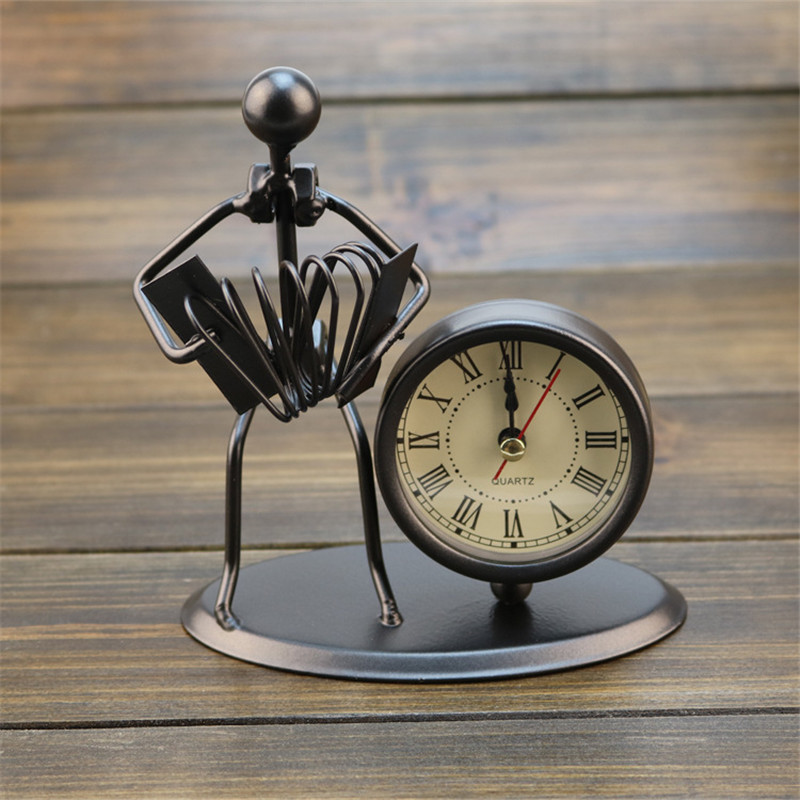 European Antique Iron Clock Room Vintage Clock Table Clock Retro Roman Digital Clock Instrumental Performance Desktop Ornaments