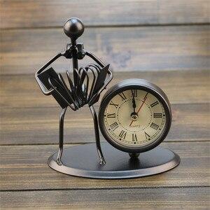 European Antique Iron Clock Room Vintage Clock Table Clock Retro Roman Digital Clock Instrumental Performance Desktop Ornaments