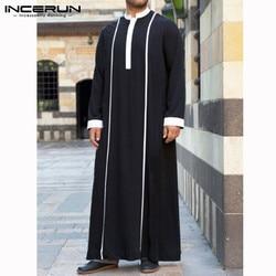 INCERUN мужской исламский арабский кафтан, мусульманская одежда, длинный рукав, пэчворк, абайя, мантия, мода, Саудовская Аравия, Дубай, для мужчи...