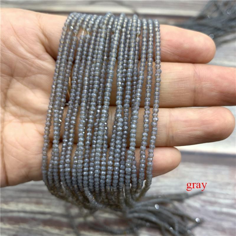 1 нитка 1X2 мм/2X3 мм маленькие хрустальные бусины Rondelle бисер-разделитель маленькие бусины для изготовления ювелирных изделий Diy - Цвет: gray