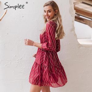Image 3 - Simplee, vestido de mujer con cuello en v, volantes, estampado a rayas, cintura alta, linterna, vestido de verano, vacaciones, manga larga, vestido de fiesta de primavera