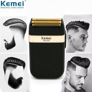 Image 1 - Kemei מכונת גילוח לגברים תאום להב עמיד למים הדדיות אלחוטי Razor USB נטענת גילוח מכונת בארבר גוזם