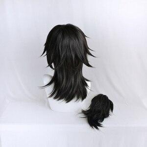 Image 5 - Anime Demon Slayer Kimetsu no Yaiba Tomioka Giyuu Black Ponytail Cosplay Wig Men Women Heat Resistant Synthetic Hair Wigs